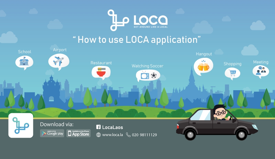How to use LOCA to request a private taxi to get around in Vientiane Laos